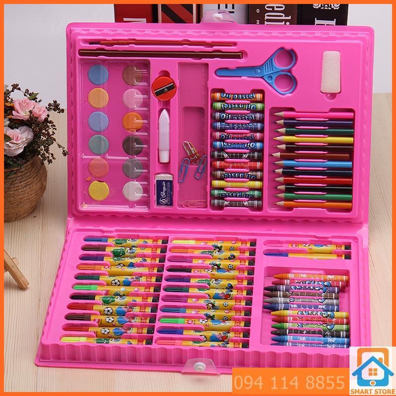Hình ảnh Bộ bút chì màu đa năng đủ loại 86 món dạng Cặp sách (Hồng)