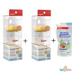Bộ Cặp Binh Sữa Pigeon Cổ Rộng Nhựa Ppsu Plus 240Ml Nước Rửa Binh Sữa Pigeon Goi 700Ml Nguyên