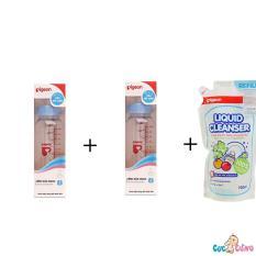 Bán Bộ Cặp Binh Sữa Pigeon Hinh 240Ml Cổ Thường Nước Rửa Binh Sữa Pigeon Goi 700Ml Trong Hồ Chí Minh