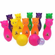 Hình ảnh Bộ đồ chơi bowling hình mèo 10 trái túi lưới