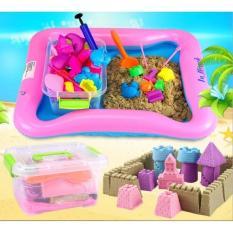 Hình ảnh Bộ đồ chơi Cát động lực vi sinh tạo hình LÂU ĐÀI gồm: Hộp nhựa + 0,8kg Cát + Bể hơi + Đủ khuôn