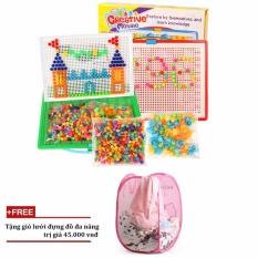 Hình ảnh Bộ đồ chơi ghép hạt nhựa Creative Mosaic 296 hạt+ Tặng giỏ lưới đựng đồ đa năng