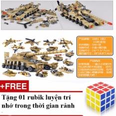 Hình ảnh Bộ đồ chơi ghép hình xếp hình biến 16 vũ khí quân sự thành 1 xe tăng lớn với 544 chi tiết + Tặng 01 rubik trơn, nhạy