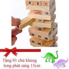 Hình ảnh Bộ đồ chơi rút gỗ 54 thanh và 4 xúc xắc (Tặng 01 chú khủng long phát sáng) (VÀNG)