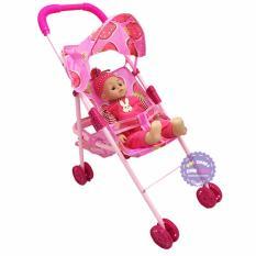 Hình ảnh Bộ đồ chơi xe đẩy búp bê em bé trai phát nhạc bằng sắt