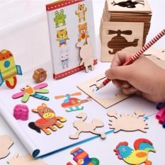Hình ảnh Bộ Khuôn hình cho bé tập vẽ gồm 50 chi tiết hoạt hình + Vở + 12 bút màu, bút chì, vở vẽ