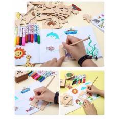 Hình ảnh Khuôn hình tập vẽ tranh cho bé ( Tặng hộp màu và sách vẽ)