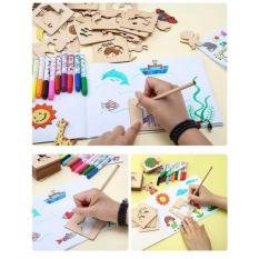 Hình ảnh Khuôn hình tập vẽ tranh cho bé + Tặng hộp màu và sách vẽ
