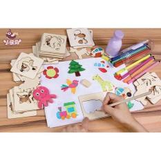 Hình ảnh Bộ khuôn vẽ tranh và tô màu bằng gỗ cho bé 52 khuôn
