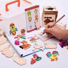 Hình ảnh Bộ khuôn vẽ tranh và tô màu bằng gỗ cho bé ( mua88 shop )
