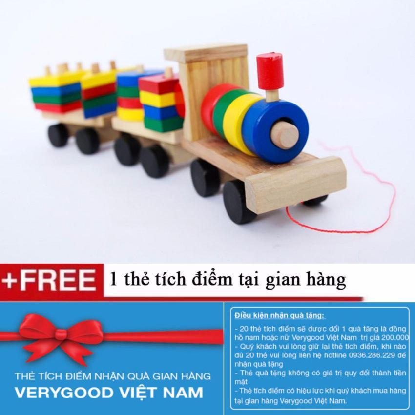 Hình ảnh Bộ tàu hỏa thả hình bằng gỗ cho bé + Tặng kèm 1 thẻ tích điểm Verygood