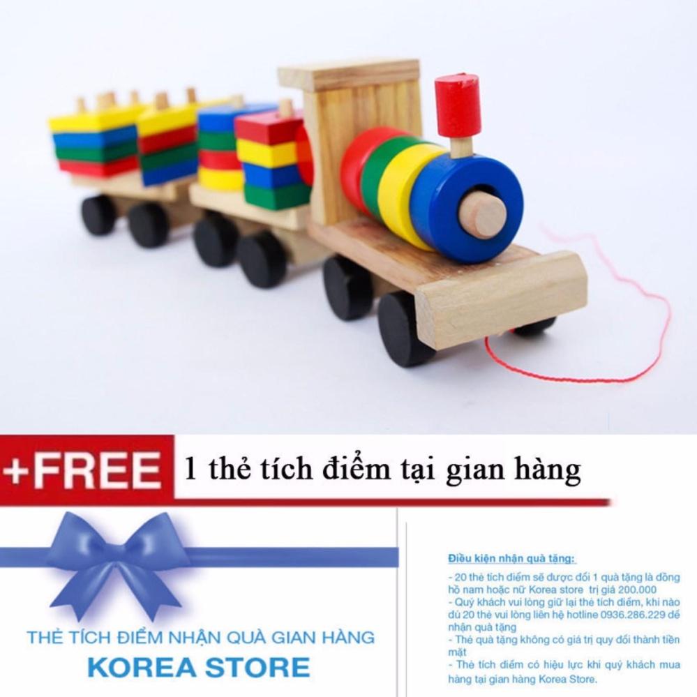 Hình ảnh Bộ tàu hỏa thả hình bằng gỗ trí tuệ cho bé + Tặng kèm 1 thẻ tích điểm KoreaStore