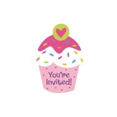 Hình ảnh Bộ Thiệp Mời Sinh Nhật Chủ Đề Cupcake (8 thiệp)
