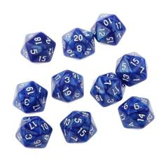 Hình ảnh BolehDeals 10pcs Twenty Sided Dice D20 Playing D&D RPG Party Games Dices Blue - intl