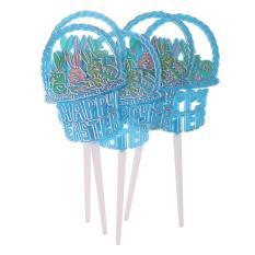 Hình ảnh BolehDeals 12x Happy Thỏ Phục Sinh Cupcake Trang Trí đồ Bánh Phím Trẻ Em Đảng Bánh Trang Trí Màu Xanh-quốc tế