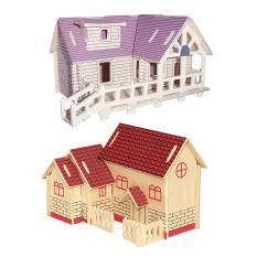 Voucher Giảm Giá BolehDeals 2 Set DIY 3D Wooden Jigsaw House Model Puzzle Construction Kit For ...
