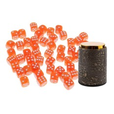 Hình ảnh BolehDeals 50 Pieces 6 Sided Orange Spot Dices D6 with Dice Cup Shaker for Casino Party Bar Board Game Props Dungeons and Dragons Accessory - intl