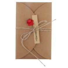 Hình ảnh BolehDeals DIY Rose Flower Kraft Paper Greeting Card with Handmade Big for Valentine #1 - intl