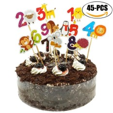 Hình ảnh Cake Topper Set Cartoon Animals Numbers Baby Boys Pattern Cupcake Picks Cake Flags Decoration Toppers - intl