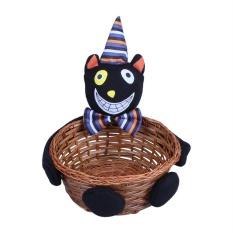 Hình ảnh Candy Holder Smile Bamboo Pumpkin Bucket Basket Halloween Party Decor(Black) - intl
