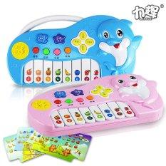Hình ảnh Children Puzzle Learning Machine Smart Cartoon Dolphin Music Piano Sent Fruit Piano Spectrum - intl