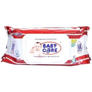 Combo 10 gói Khăn ướt em bé Baby Care Không mùi gói 80 tờ thumbnail