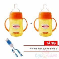 Ôn Tập Combo 2 Binh Sữa Wesser Nano Silver Cổ Rộng 180Ml Tặng 1 Cọ Rửa Binh Sữa Wesser Nano Silver Trong Hồ Chí Minh