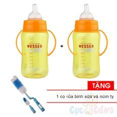 Ôn Tập Combo 2 Binh Sữa Wesser Nano Silver Cổ Rộng 320Ml Tặng 1 Cọ Rửa Binh Sữa