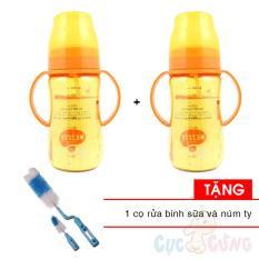 Combo 2 Binh Sữa Wesser Nano Silver Cổ Rộng Co Ống Hut 260Ml Tặng 1 Cọ Rửa Binh Sữa Mới Nhất