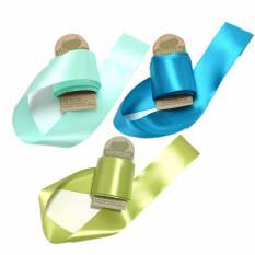 Hình ảnh Combo 3 gói ruy băng lụa 4cm xanh ngọc, xanh dương, xanh nõn chuối (3m/gói) CR1