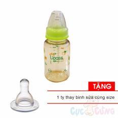 Combo Binh Sữa Upass Cổ Thường 120Ml Pes Xanh La Tặng 1 Ty Cung Size Upass Chiết Khấu 30