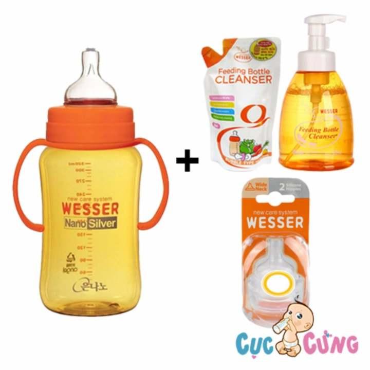 Combo bình sữa wesser nano silver 320ml + chai rửa...