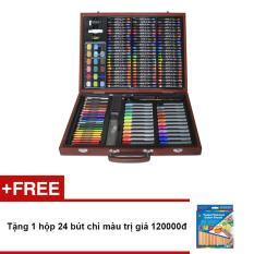 Hình ảnh Bút màu hộp gỗ Colormate MS153 + Tặng 1 hộp 24 bút chì màu trị giá 120000đ