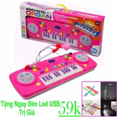 Hình ảnh Đàn organ điện tử vừa đàn vừa hát cho bé yêu (Hồng) + Đèn led USB