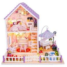 Hình ảnh MÔ HÌNH NHÀ GỖ DIY-Bộ dụng cụ trang trí cho các mô hình nhà gỗ đồ chơi thu nhỏ màu tía lãng mạn-Hàng nhập khẩu