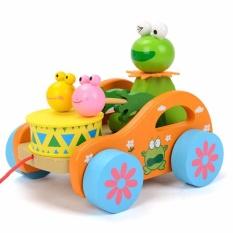 Hình ảnh Đồ chơi bằng gỗ - Bé kéo xe Ếch xanh đánh trống