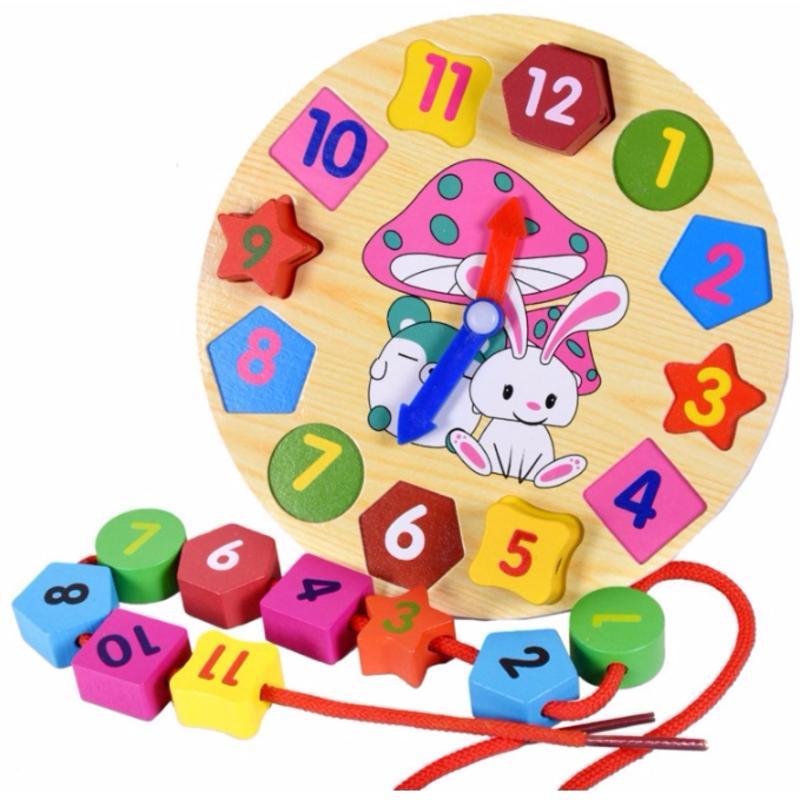Đồ chơi gỗ đồng hồ học hình khối Bigotoys