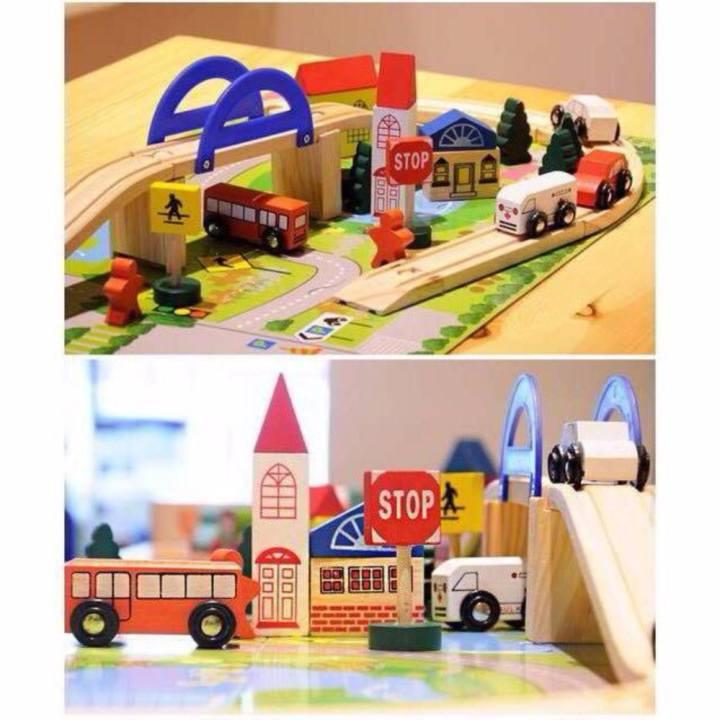 Đồ chơi mô hình thành phố bằng gỗ kèm thảm...