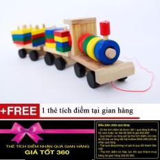 Hình ảnh Đồ chơi tàu hỏa thả hình bằng gỗ cho bé thỏa sức sáng tạo + Tặng kèm 1 thẻ tích điểm Giá Tốt 360