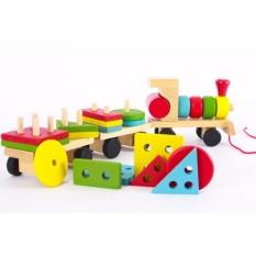Hình ảnh Đồ chơi tàu hỏa thả hình bằng gỗ