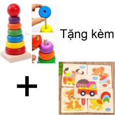 Hình ảnh Đồ chơi tháp xếp hình tặng kèm bảng xếp hình bằng gỗ cho bé