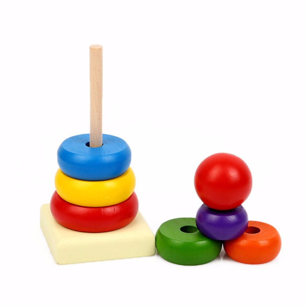 Hình ảnh Đồ chơi xếp tháp bằng gỗ 7 sắc cầu vồng