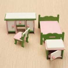 Hình ảnh Doll House Miniature Bedroom Wooden Furniture Set Kids Role Pretend Play Toy - intl