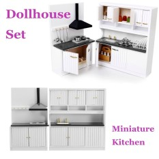 Hình ảnh Dollhouse Miniature Burlywood Integrated Kitchen Furniture Set 1:12 Scale Model - intl