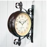 Giá Bán Đồng Hồ Sắt Trang Tri Treo Tường 2 Mặt Cổ Điển Retro Clock Nhãn Hiệu None
