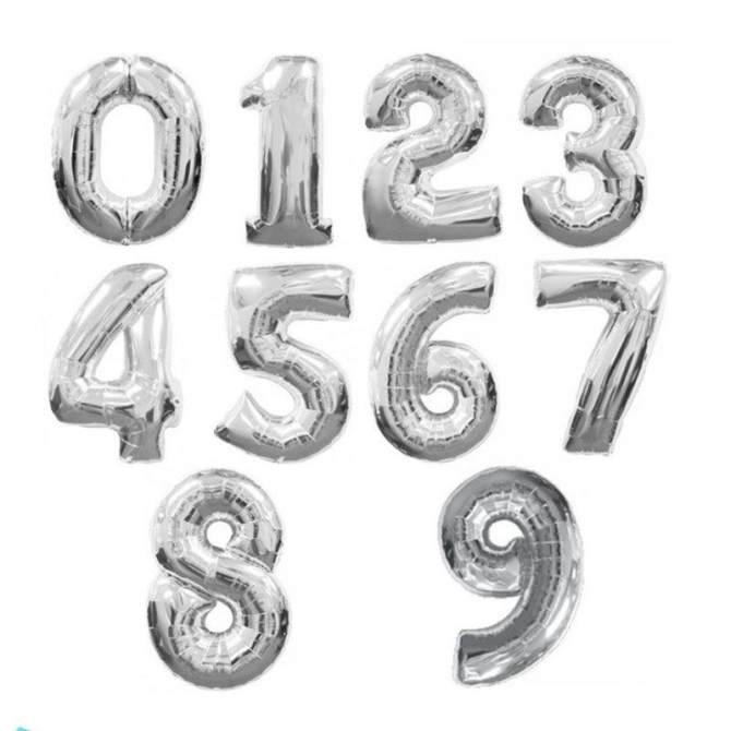 Durable gold/silver Digit 0-9 Number Foil Balloons New Years Eve ...