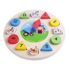 Hình ảnh Educational Wooden Clock Geometric Animal Number Building Blocks Puzzle Toy - intl