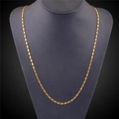 Hình ảnh Elegant Men Jewelry Gold Plated 2mm Stripe Chain Necklace Jewelry Gold 53cm - intl