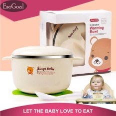 EsoGoal Baby Stainless Bowl and Spoon Set Warming Bowl With Silicone Sucker For Feeding Baby Toddler - intl