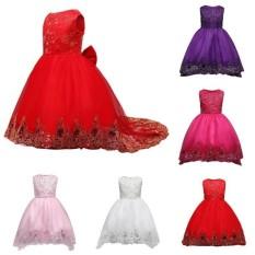 Hình ảnh Fantastic Hoa Mới Bán Bé Gái Thêu Bướm Đầm Dự Tiệc Cưới Junior Cô Dâu Đầm Công Chúa Trẻ Em Kim Sa Lấp Lánh Ren Dài đuôi Đỏ Bé Gái-Đỏ-CHIỀU CAO: 120 cm-quốc tế